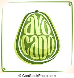 Vector logo for Avocado, label with one whole vegetable for ...