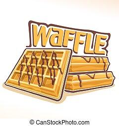 Vector logo for belgian Waffle, illustration of heap sweet...