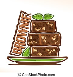 Vector logo for Brownie confection, heap of square yummy...