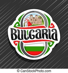 Vector logo for Bulgaria country, fridge magnet with...