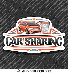 Vector logo for Car Sharing company, white decorative badge ...