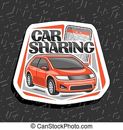 Vector logo for Car Sharing company, white decorative icon ...