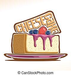 Vector logo for Cheesecake, illustration of italian...