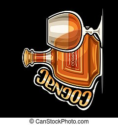 Vector logo for Cognac, outline illustration of brown bottle with decorative label and half full snifter glass, placard with unique design lettering for orange word cognac on dark background.