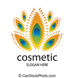 vector logo for cosmetics in the form of a peacock feather