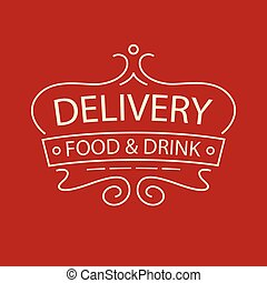 Vector logo for delivery food and drink restaurant cafe.