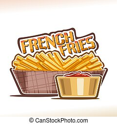 Vector logo for French Fries, poster with heap of fried...