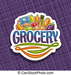 Vector logo for Grocery Store, cut paper sign with heap of...