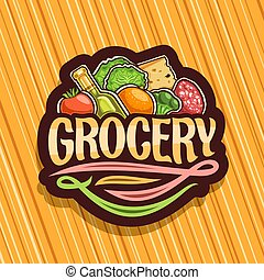 Vector logo for Grocery Store, dark decorative signboard...