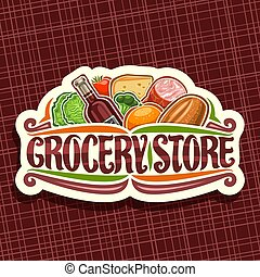 Vector logo for Grocery Store, white decorative signage with...