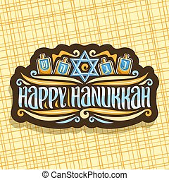 Vector logo for Hanukkah, dark label with blue star of...