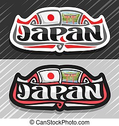 Vector logo for Japan country, fridge magnet with japanese...