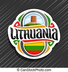Vector logo for Lithuania country, fridge magnet with...