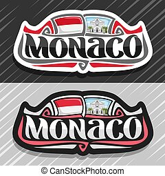 Vector logo for Monaco country, fridge magnet with...