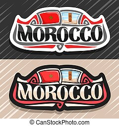 Vector logo for Morocco country, fridge magnet with moroccan state flag, original brush typeface for word morocco and national moroccan symbol - Hassan tower in Rabat on blue cloudy sky background.