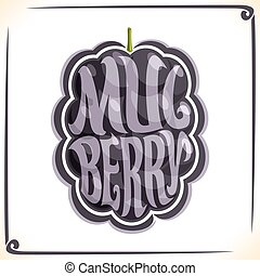 Vector logo for Mulberry, label with one black berry for...