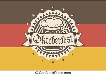 Vector logo for Oktoberfest in the pub or bar during the fest, beer mug with foam filled to the brim for traditional vintage pub for oktoberfest banner, Bavarian