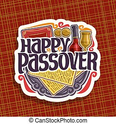 Vector logo for Passover holiday, decorative handwritten...