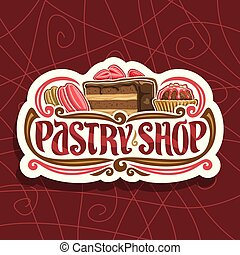 Vector logo for Pastry Shop, cut paper signage with pink...