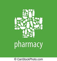 vector logo for pharmacy cross on a green background