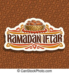 Vector logo for Ramadan Iftar Party, cut paper sign with...