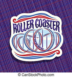 Vector logo for Roller Coaster, cut paper sign with cartoon...