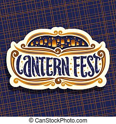 Vector logo for Sky Lantern Festival, signboard with...