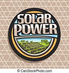 Vector logo for Solar Power, dark round sticker with many...