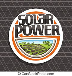Vector logo for Solar Power, white round sticker with many...