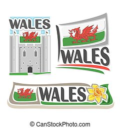 Vector logo for Wales, consisting of 3 isolated...