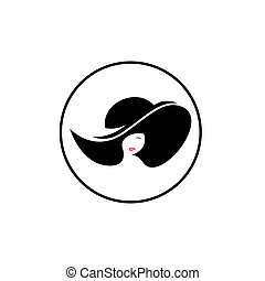 Vector logo for woman salons and shops, a young beautiful woman