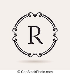 Vector logo frame design templates. Vintage label letter