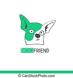 vector logo funny cartoon dog, friend, suitable for logos veterinary clinic, pet shop to sign, a symbol for all products for dogs