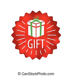 vector logo gift in a red circle