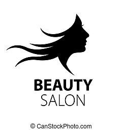 vector logo girl with flying hair
