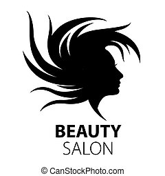 vector logo girl with flying hair for beauty salon