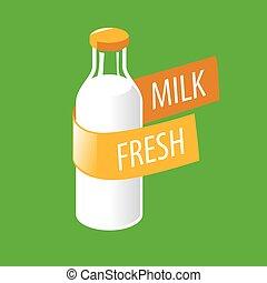vector logo glass bottle with milk
