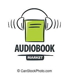 vector logo green book with headphones