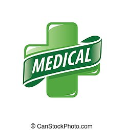 vector logo green cross and a ribbon