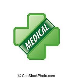vector logo green cross and green ribbon