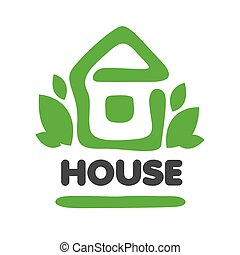 vector logo green house and leaves