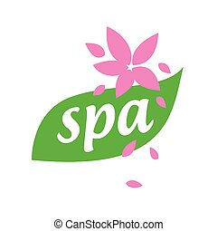 vector logo green leaf and flower for spa salon