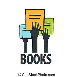 vector logo hands holding a books