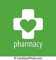 vector logo heart and cross for pharmacy