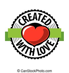 vector logo heart made with love