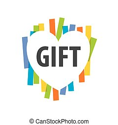 vector logo heart on multicolored background