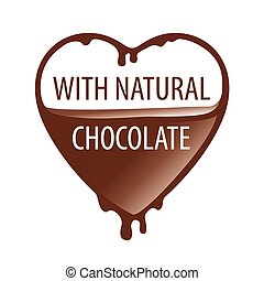 vector logo heart with natural chocolate