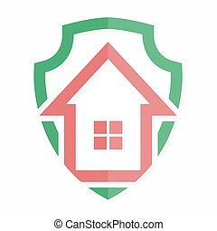 Vector logo house on shield