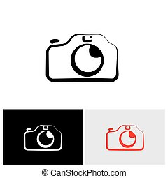 vector logo icon of digital modern camera with flash icon symbol