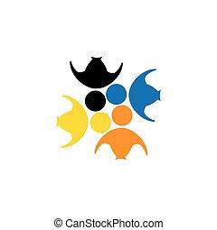 vector logo icon of friendship, dependence, empathy, bonding